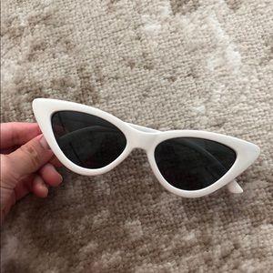 White cat eye retro sunglasses